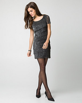 Metallic Knit Mini Dress