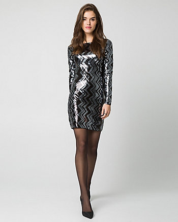 Sequin Knit Boat Neck Dress