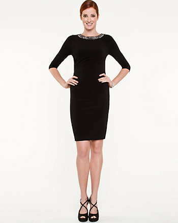 Gem Boat Neck Fitted Dress