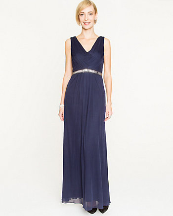 Knit Beaded Trim V-Neck Gown