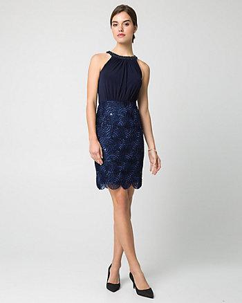 Knit Embroidered Halter Dress