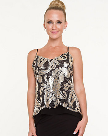 Floral Sequin High-Low Camisole