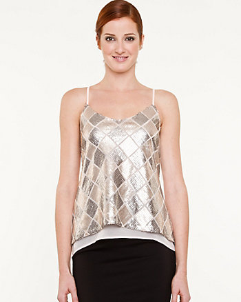 Sequin Check High-Low Camisole