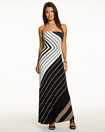 Stripe Jersey Strapless Maxi Dress