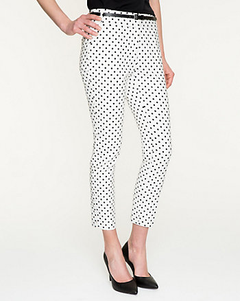 Polka Dot Stretch Cotton Slim Leg Crop Pant