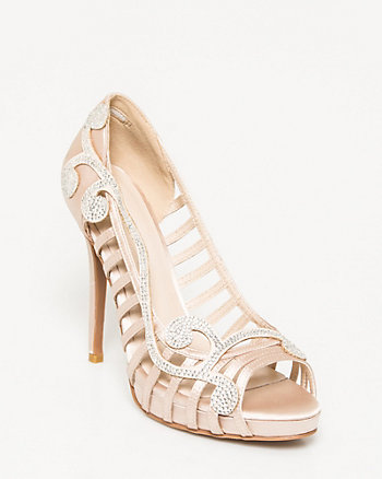Satin Embellished Caged Pump
