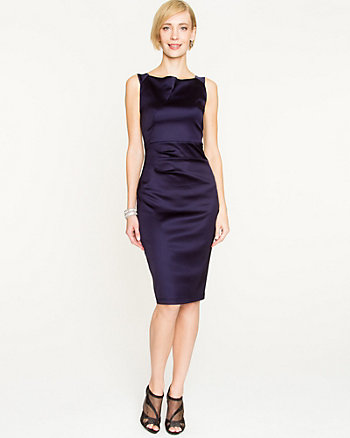 Satin Boat Neck Fitted Dress