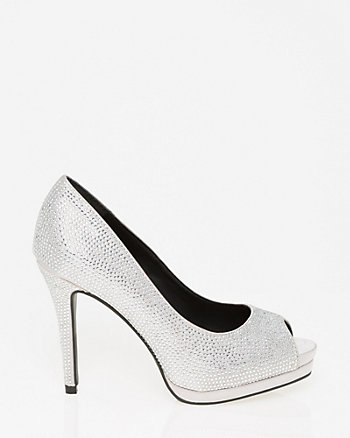 Jewel Embellished Satin Platform Peep Toe