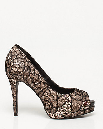 Lace & Faux Leather Peep Toe Pump