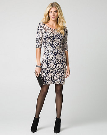Sequin Lace Fitted Dress