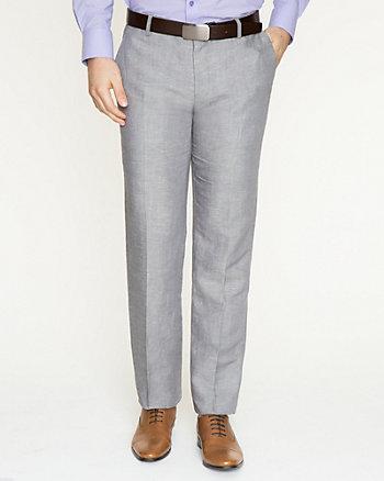 Pantalon à jambe droite en mélange de lin