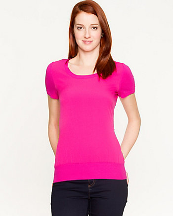 Viscose Blend Short Sleeve Sweater