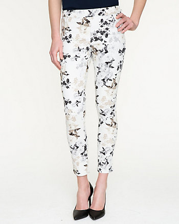Floral Stretch Denim Slim Leg Pant