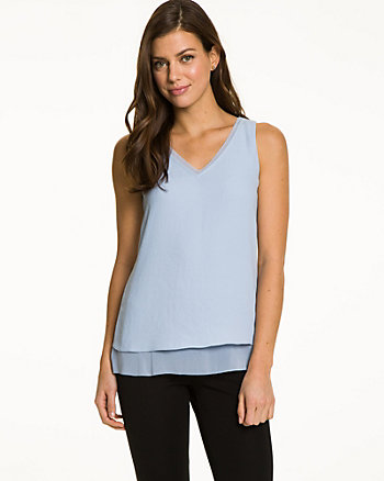 Crêpe de Chine V-Neck Sleeveless Blouse