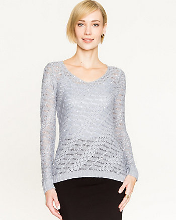 Sequin Open-Stitch Sweater