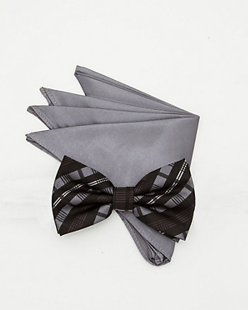 Microfibre Bow Tie and Pocket Square Set