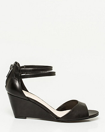 Leather-Like Open Toe Wedge