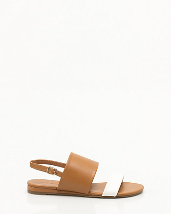 Leather-Like Double Band Sandal