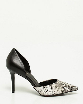 Snake Print Leather d'Orsay Pump