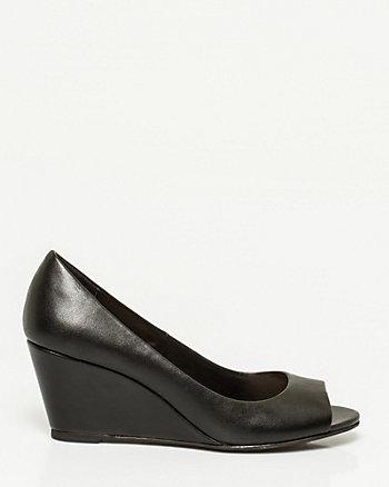 Leather Peep Toe 1/2 d'Orsay Wedge