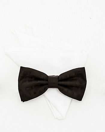 Tonal Pattern Bow Tie and Pocket Square Set