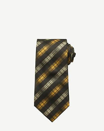 Metallic Check Print Skinny Tie