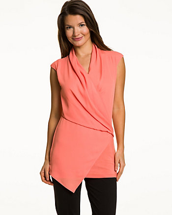 Crêpe de Chine & Knit Combo Wrap Tunic
