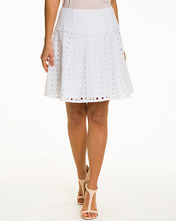 Eyelet Cotton Blend Skirt