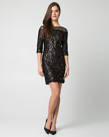 Sequin Boat-neck Mini Dress