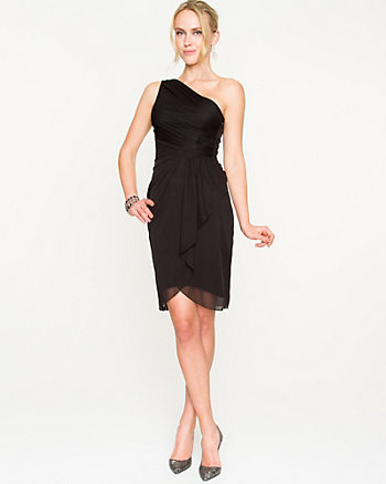Sheer Knit One Shoulder Cocktail Dress