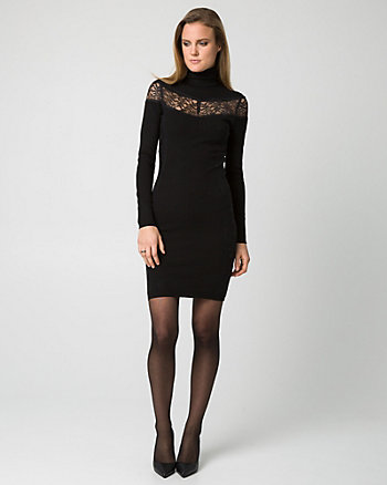 Lace Panel Sweater Dress