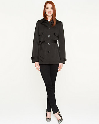 Cotton Blend Belted Coat