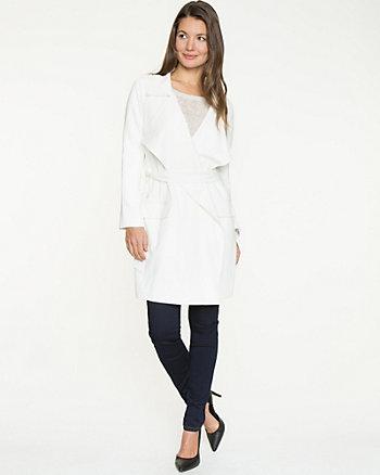 Crêpe Belted Wrap Coat