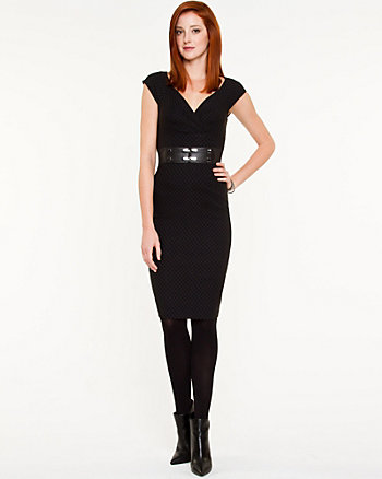 Check Print V-Neck Sheath Dress