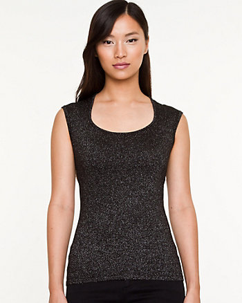 Lurex Scoop Neck Shell Sweater