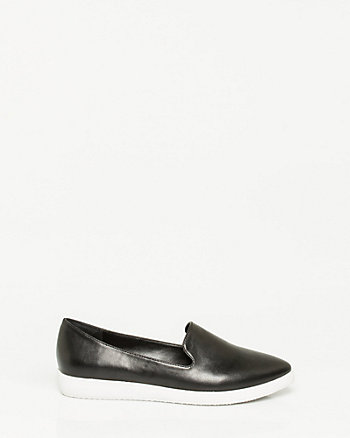 Leather-Like Pointy Toe Loafer
