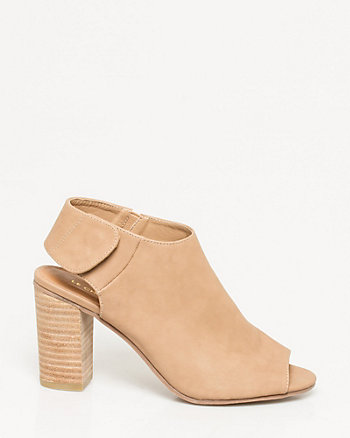 Leather-Like Peep Toe Shootie