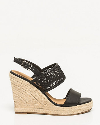 Floral Lace & Faux Leather Wedge