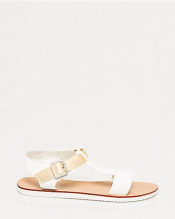 Faux Leather T-Strap Sandal