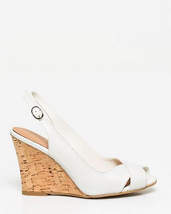 Escarpin-sandale à talon compensé en cuir