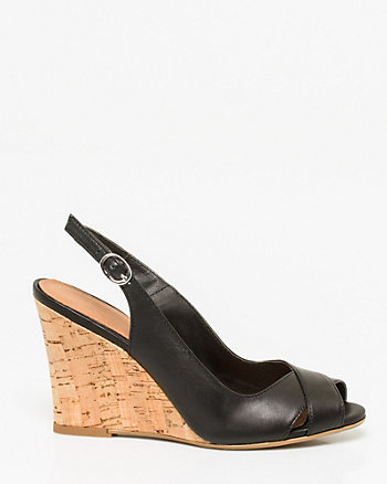 Leather Slingback Wedge Sandal