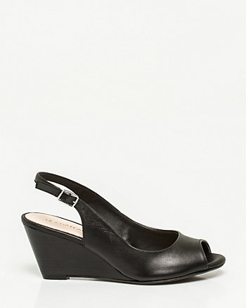 Leather Slingback Wedge