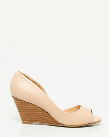 Leather Half d'Orsay Wedge