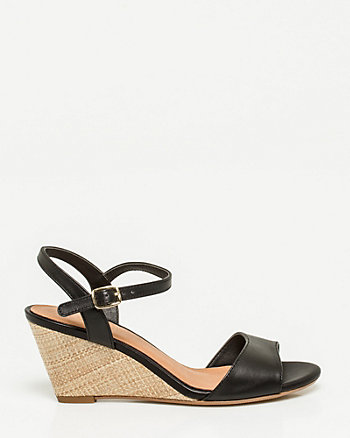 Leather Open Toe Wedge Sandal