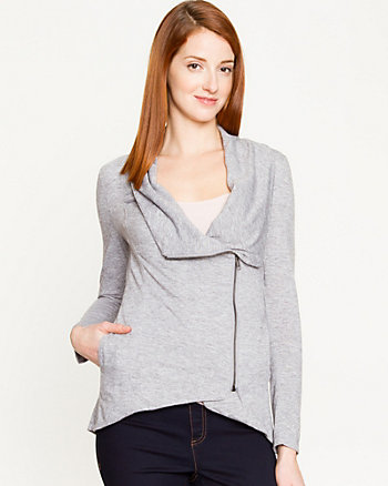 Knit Asymmetrical Zip Cardigan