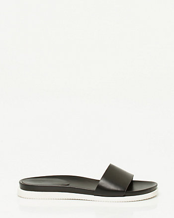 Faux Leather One Band Slide Sandal