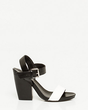 Faux Leather Colour Block Sandal