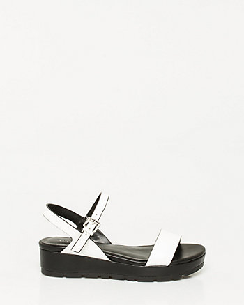 Faux Leather Flatform Sandal