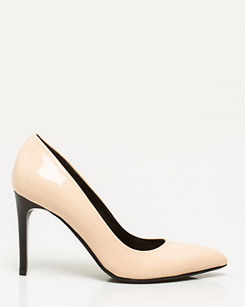 Patent Leather-Like Pointy Toe Pump