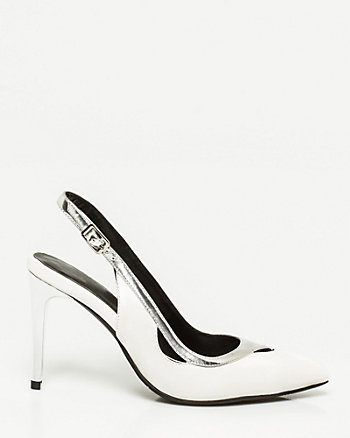 Metallic Trim Leather-Like Slingback Pump